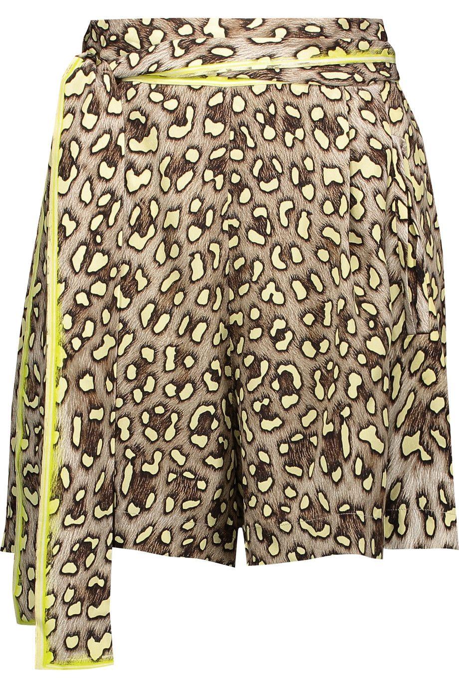ROBERTO CAVALLI Pleated Leopard-Print Silk Wrap Shorts. #robertocavalli  #cloth #shorts