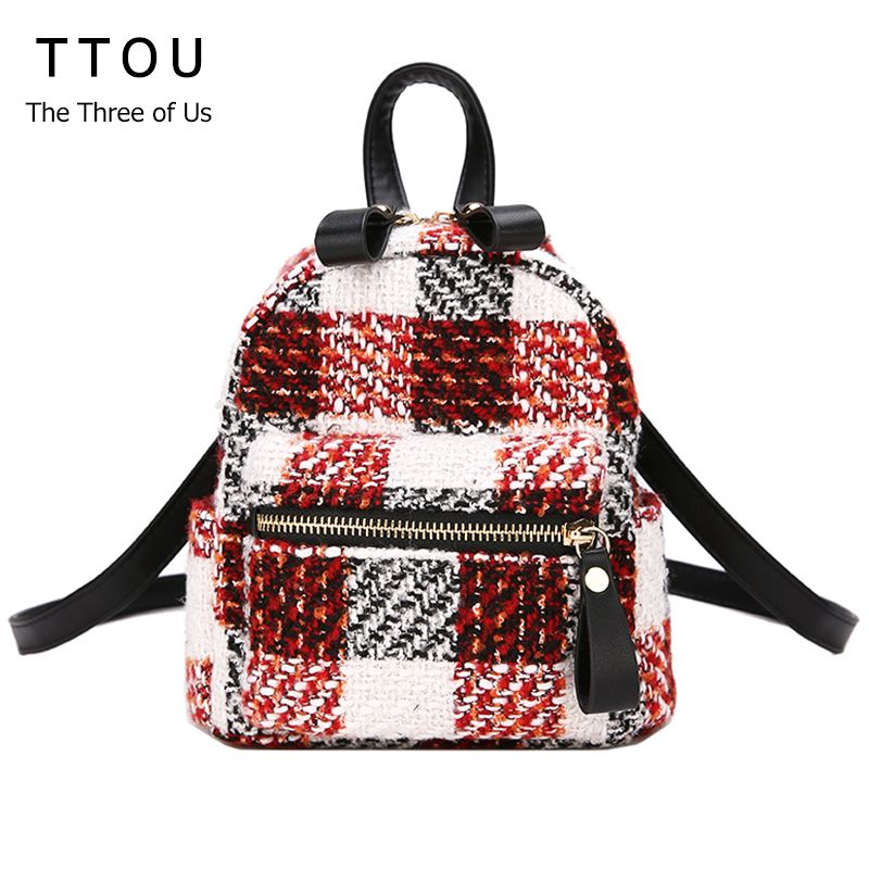 d4d67f964c21 TTOU Fashion Women Plaid Wool Backpack Mini Travel Backpack Winter Chain  Backpack for Teenager Girls Vintage School Backpack. Yesterday s price  US   22.97 ...