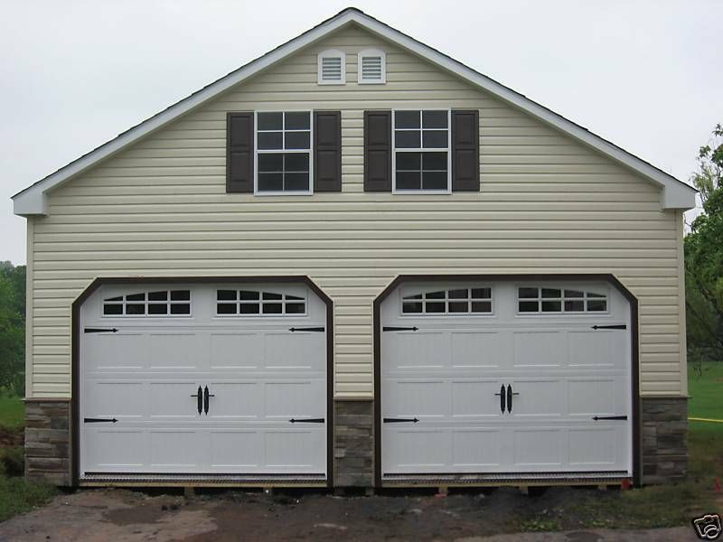 Amish 24 X 24 Double Wide 2 Story Vinyl Garage Shed New Garage Door Design Garage Door Styles Carriage Garage Doors