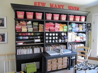 Lots of ideas for organizing and reusing in a sewing or crafting room
