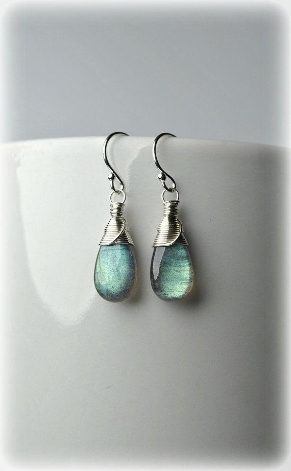 Labradorite Earrings Sterling Silver 925 Green Blue Gemstone Dangle Small Drop Mother Gift For Women Gemstones