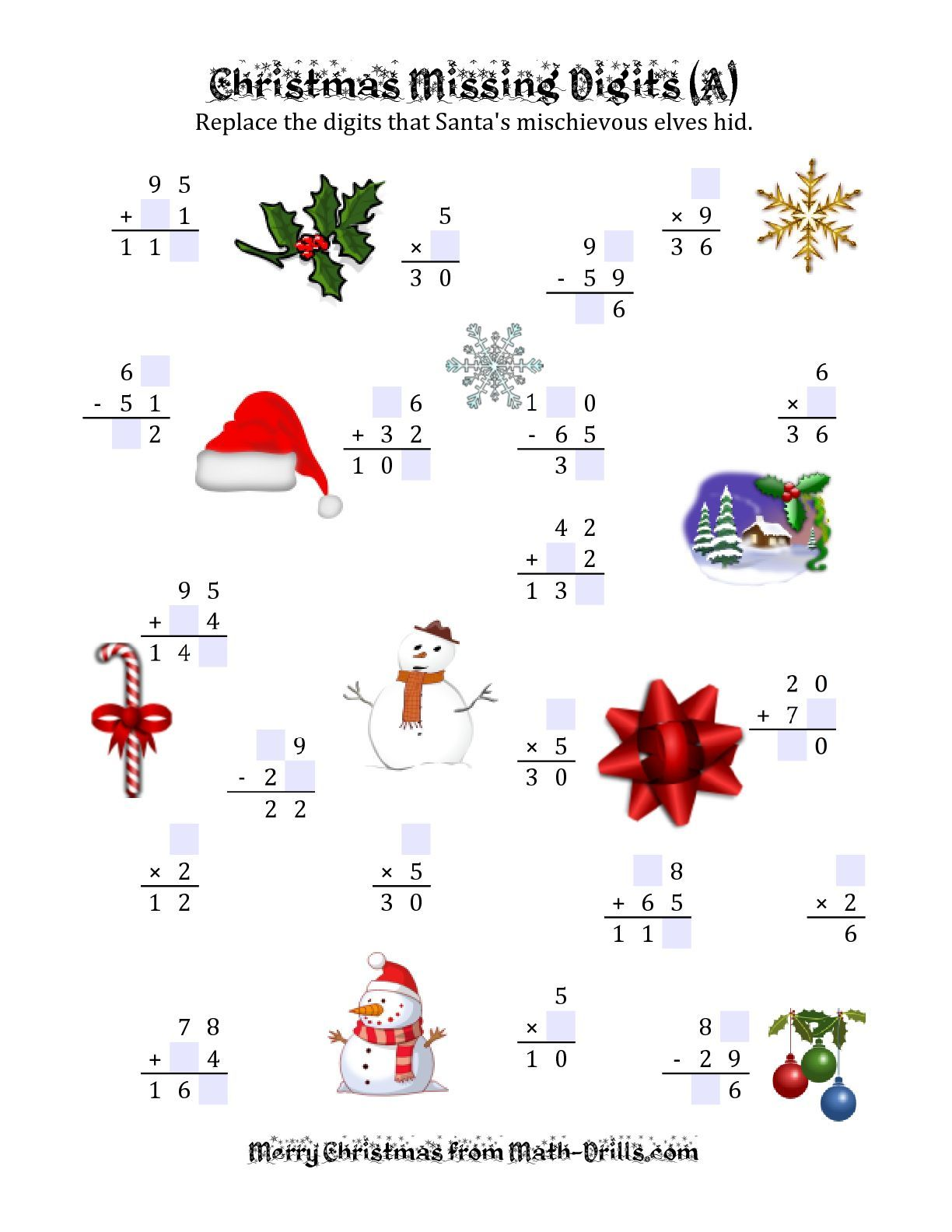 The Christmas Missing Digits A Math Worksheet From The Christmas Math Worksheet Page At Math