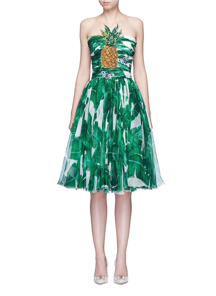 297aa796a4199 DOLCE & GABBANA Pineapple Embellished Banana Leaf Print Strapless Dress. # dolcegabbana #cloth #dress