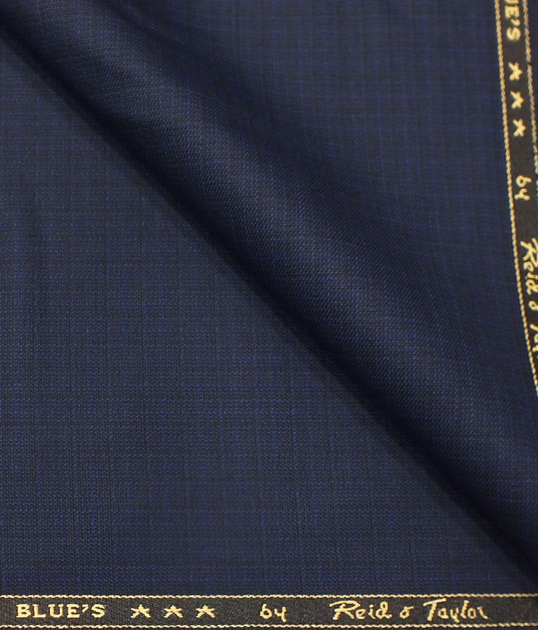 6fad04cd8 Reid   Taylor Men s Dark Royal Blue Self Design Poly Viscose Trouser Fabric  or 3 Piece Suit Fabric (Unstitched - 1.25 Mtr)