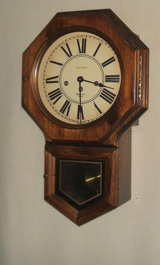 Verichron Schoolhouse Wall Clock With Franz Hermle West German