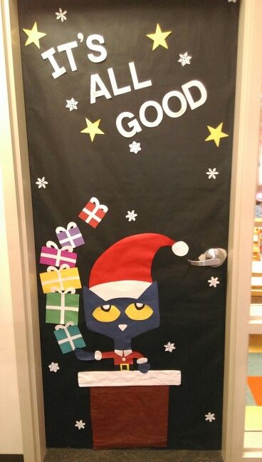 pete the cat saves christmas door decoration