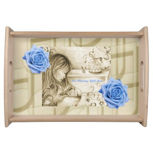 Carousel Dreams Blue Roses & Music Small Serving Tray by MoonDreams Music - Great Mother's Day Gift for a New Mom! #servingtray #breakfastinbed #mom #baby #newmom #roses #music #blue #vintage #mommy #MothersDay