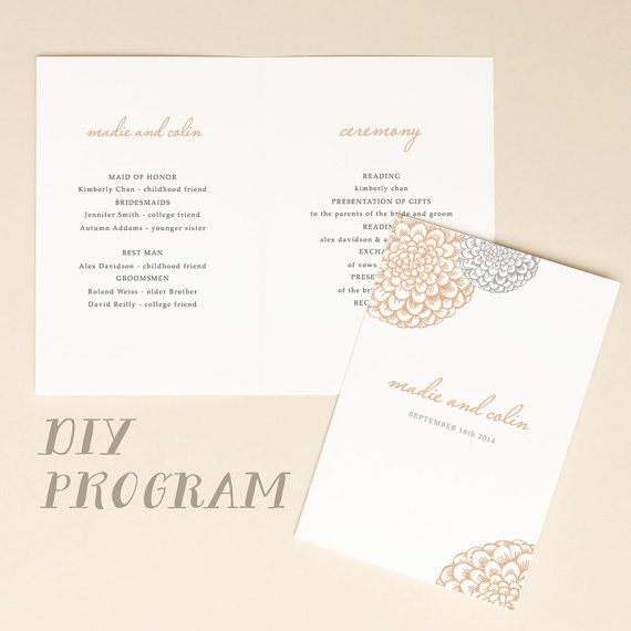 Instant Download Wedding Programs  Blooms  Folded X  Mac Or