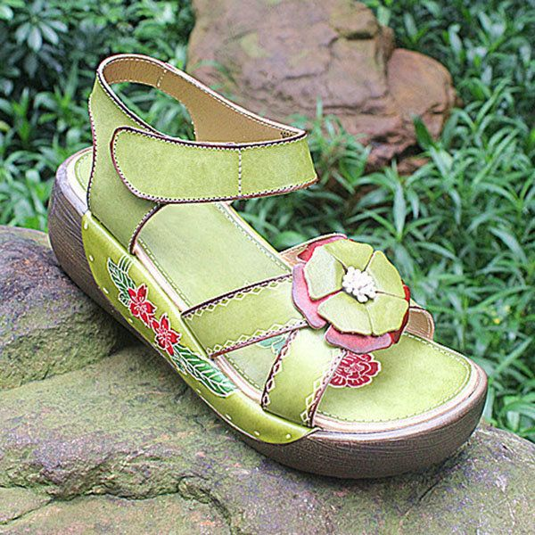 85554bb6979 SOCOFY Candy Color Hook Loop Leather Retro Platform Sandals