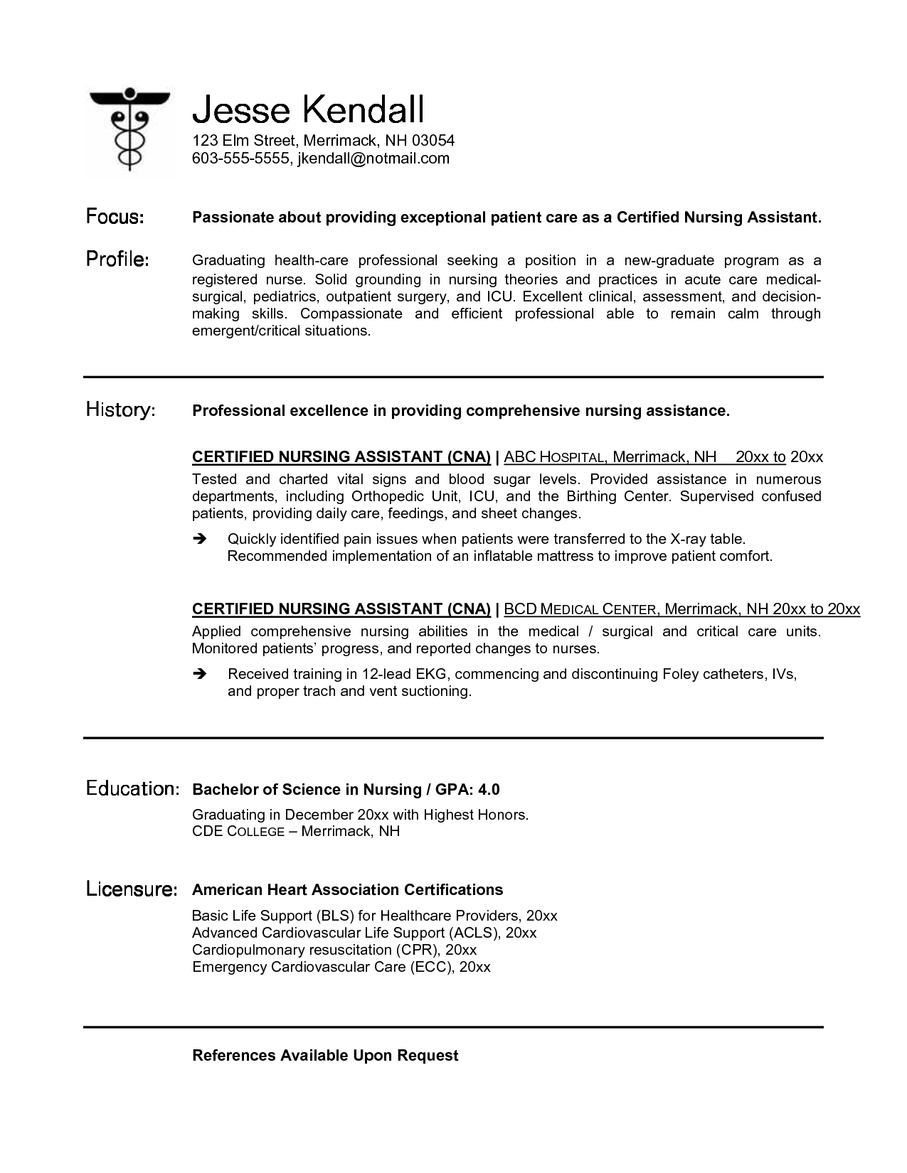 Resume For Cna Job Sample Format Simple Cover Letter With