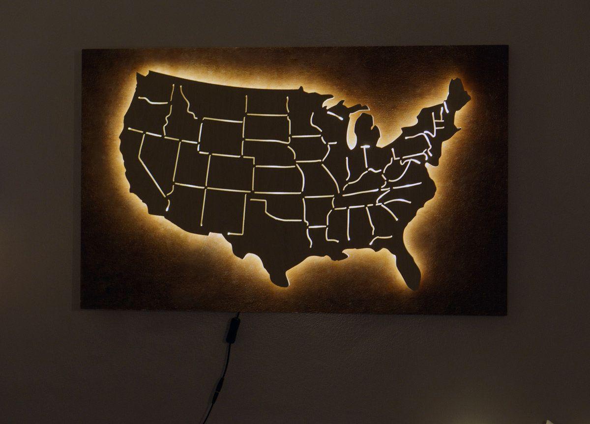 Glowing America Usa Led Wood Map Abstract Art United States Etsy Led Wall Art World Map Wall Art Etsy Wall Art