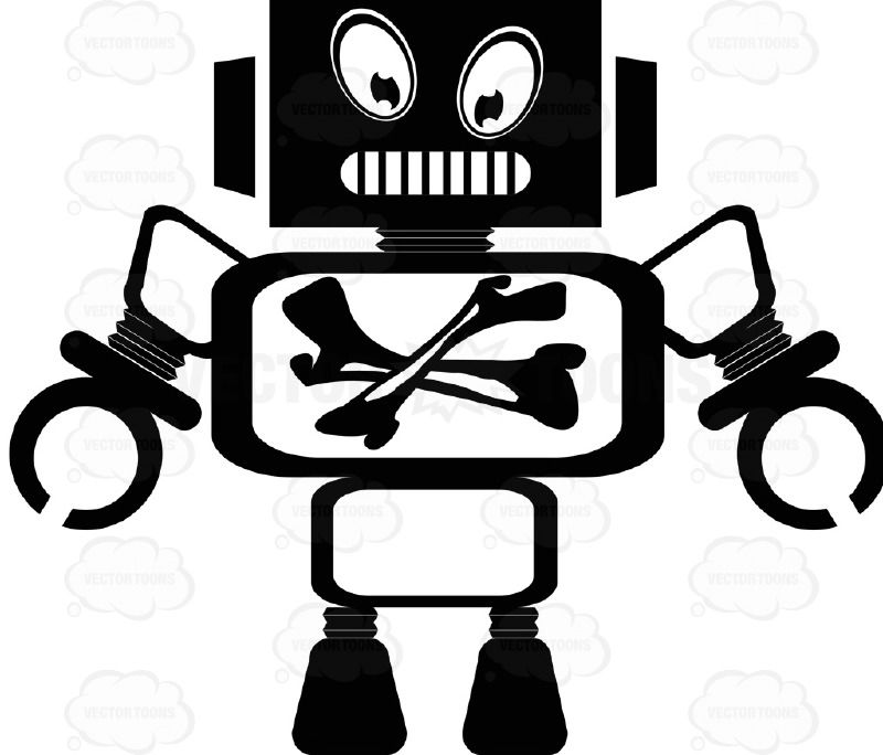Black Ink Monster Space Robot With Bones In Stomach Monitor X Ray