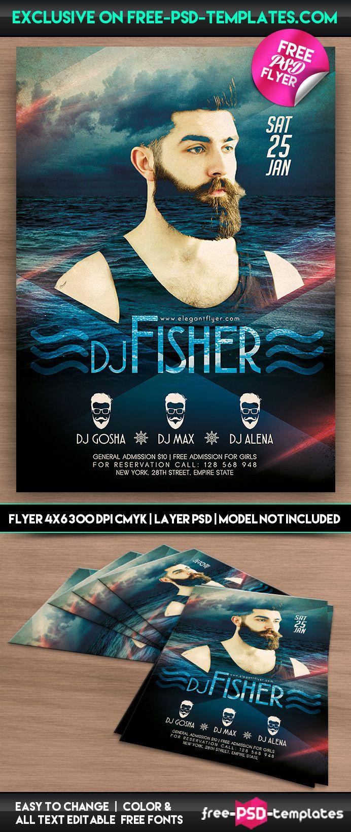 DJ Fisher – Free PSD Flyer Template on Behance   flyer   Pinterest ...