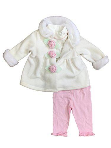 751e82701 Good Lad Infant Girls Ivory Fleece Jacket Bodysuit   Pink Leggings 3 ...