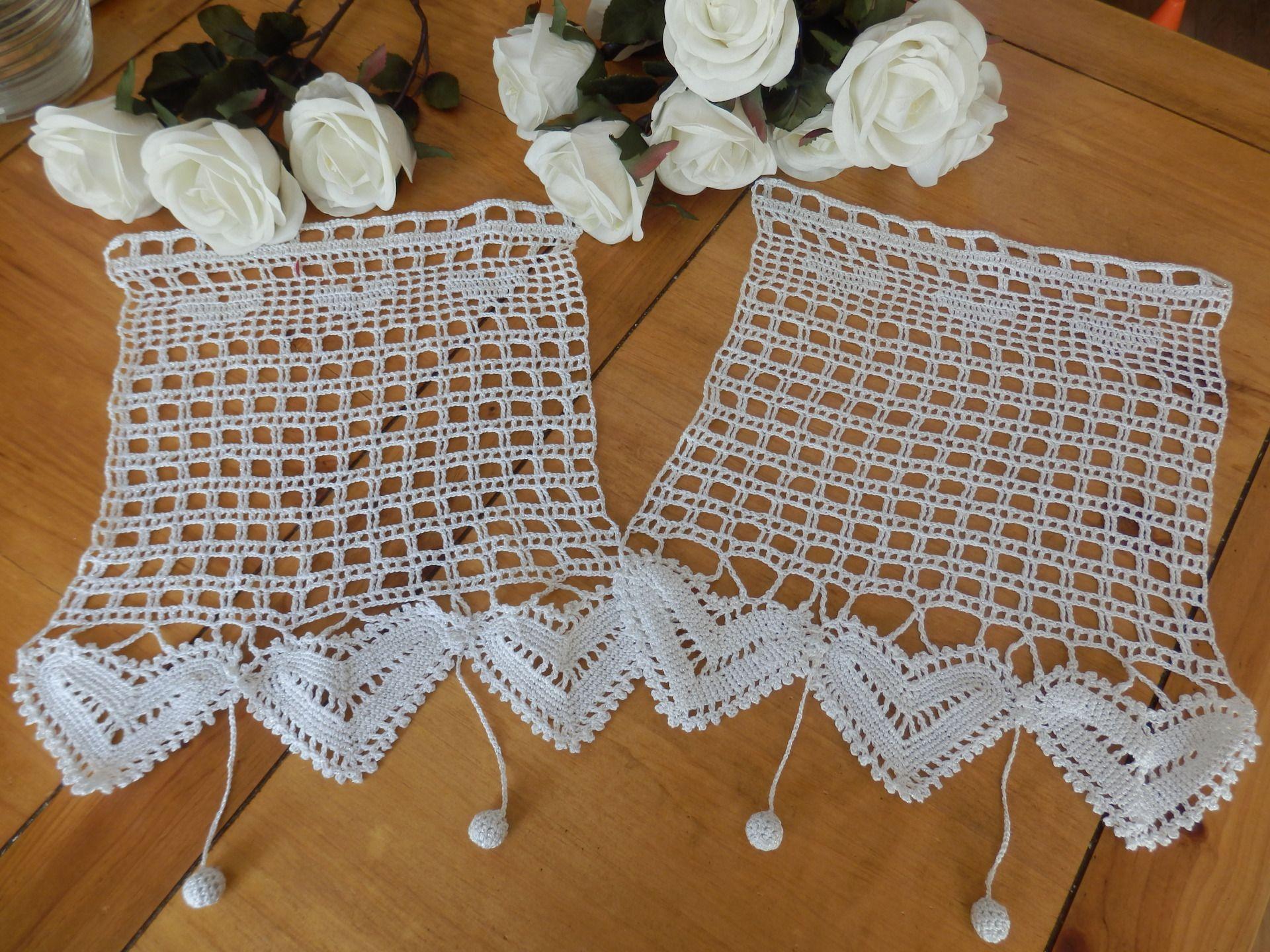 Rideaux Au Crochet Dentelle De Coeurs Textiles Et Tapis