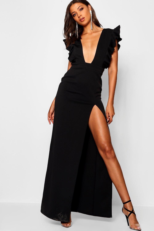 Women S Tall Ruffle Plunge Split Leg Maxi Dress Boohoo Uk Maxi Dress Black Maxi Dress Dresses [ 1500 x 1000 Pixel ]