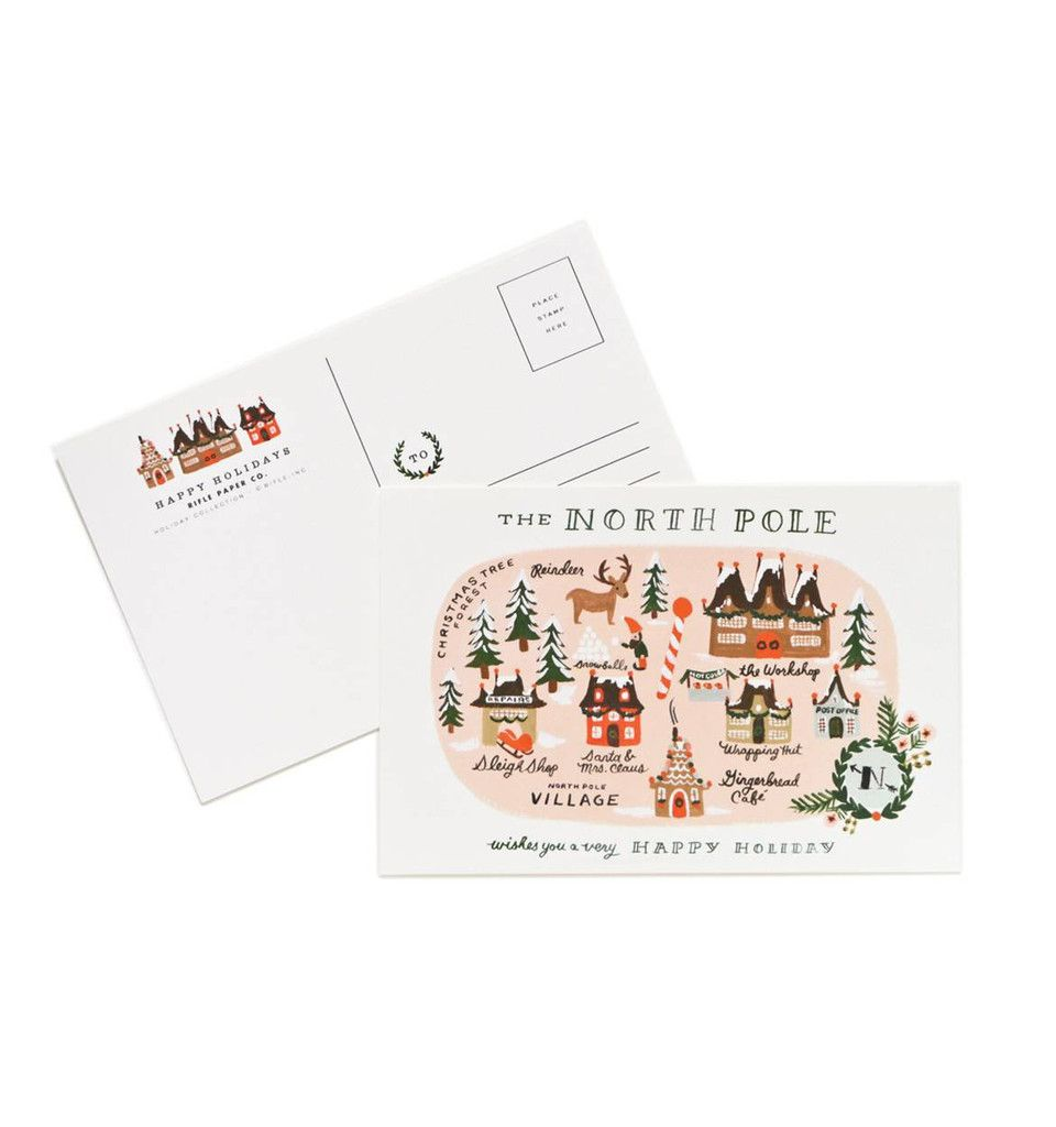 "Send a little cheer to all your friends this year with Rifle Paper Co.'s North Pole Map postcards! Sold 10 to a pack.Product Measures: 4 x 6""Features: Printed f"