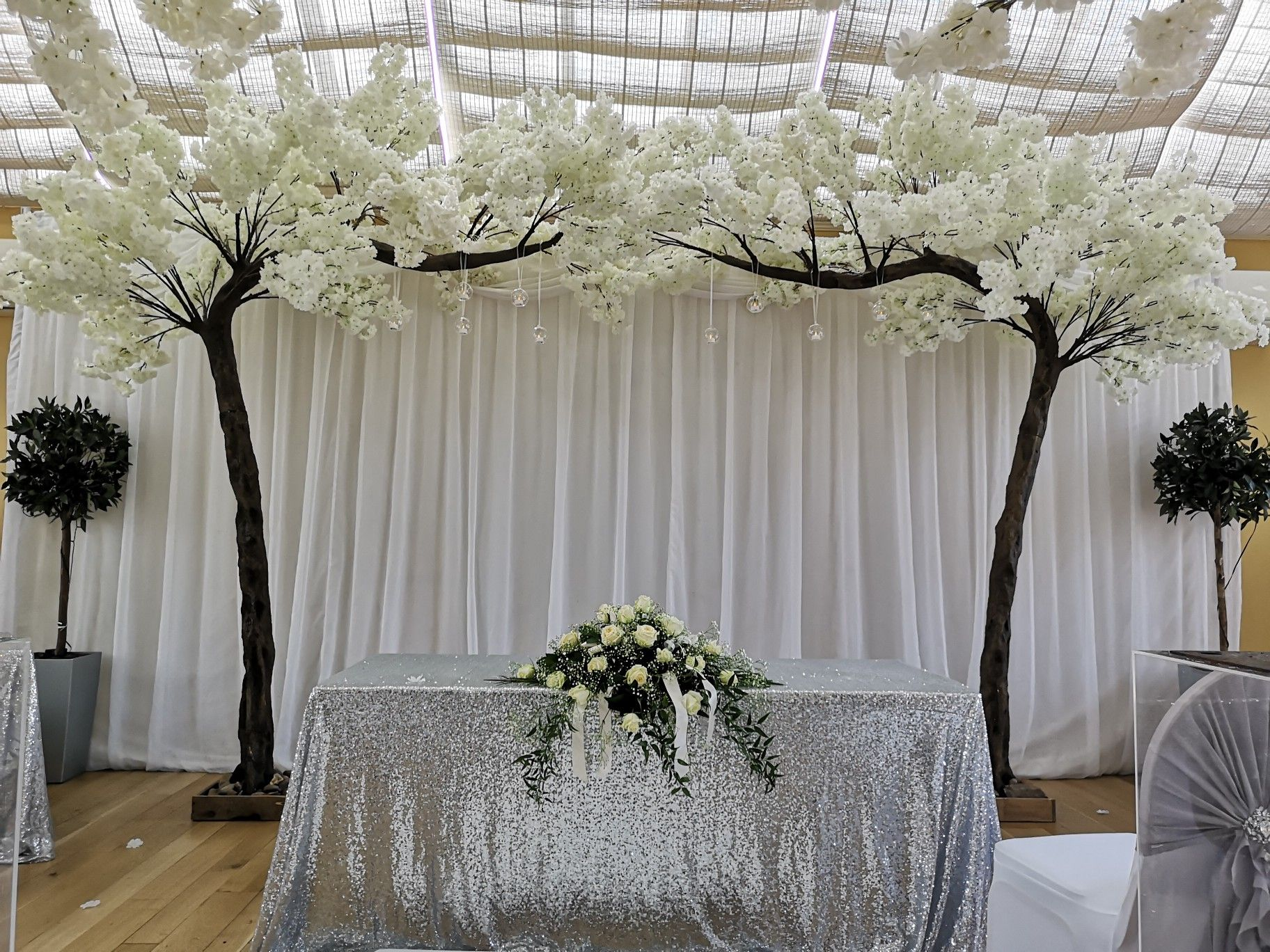 White Blossom Canopy Trees With Glass Hanging Baubles In 2021 Tree Canopy Blossom Trees Statement Decor