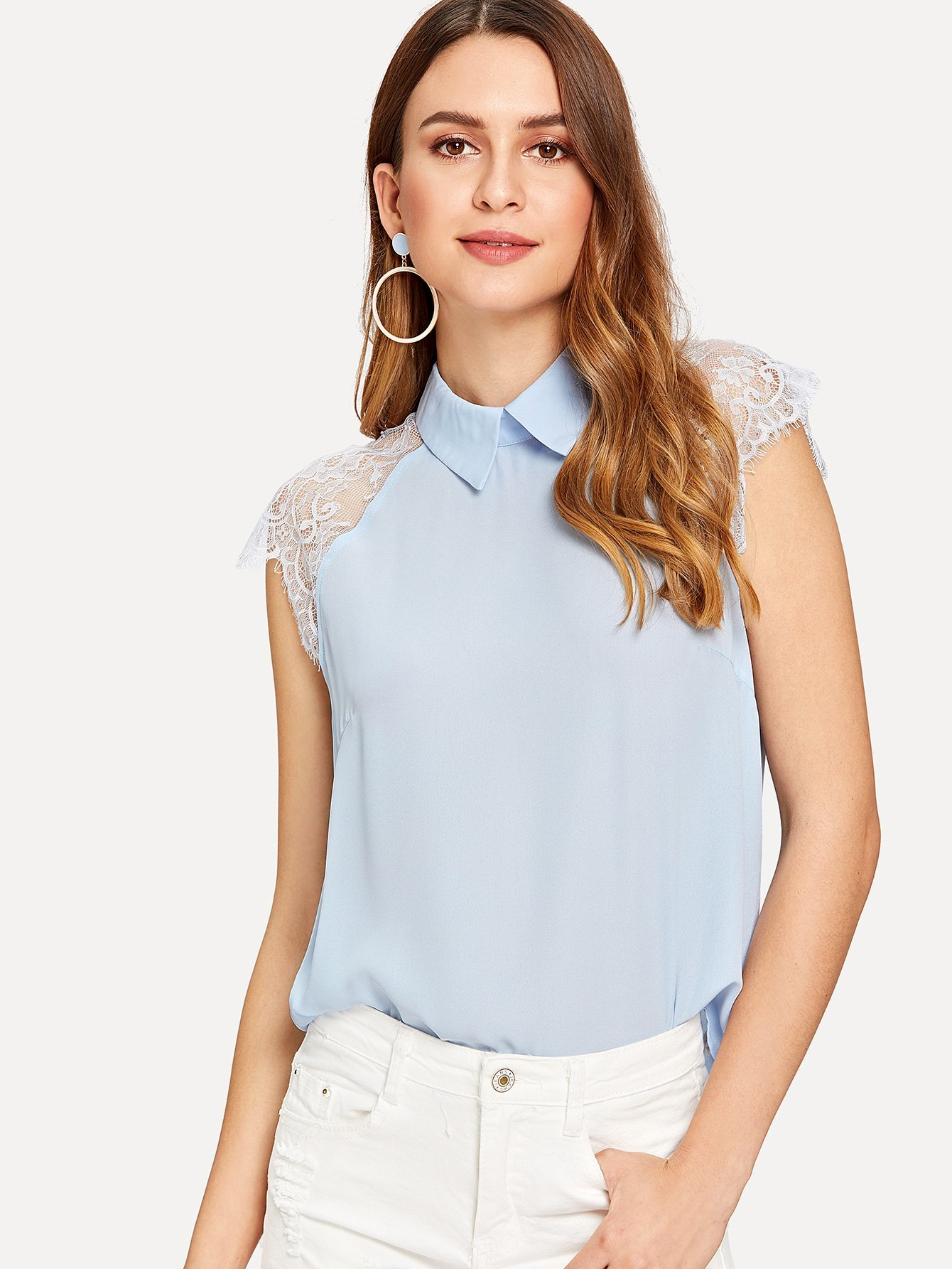 8095ea7d6d439 Lace Cap Sleeve Collared Top