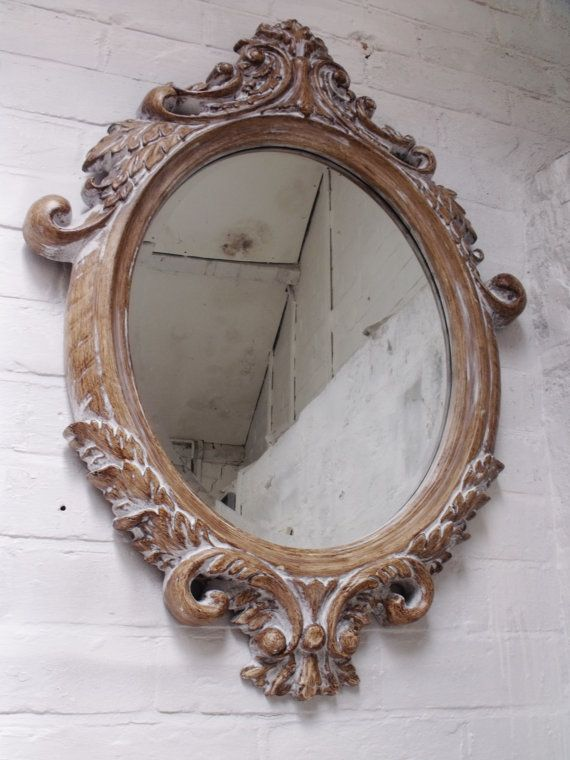 Stunning Carved Wood Effect Framed Mirror With Bevelled Edge White Wash Finish Shabby Chic Vintage Ornate Mirror Wood Framed Mirror Mirror Frames