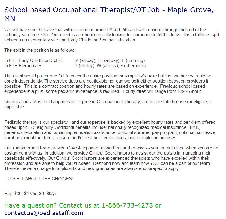 School Based Occupational Therapist Ot Job Maple Grove Mn We