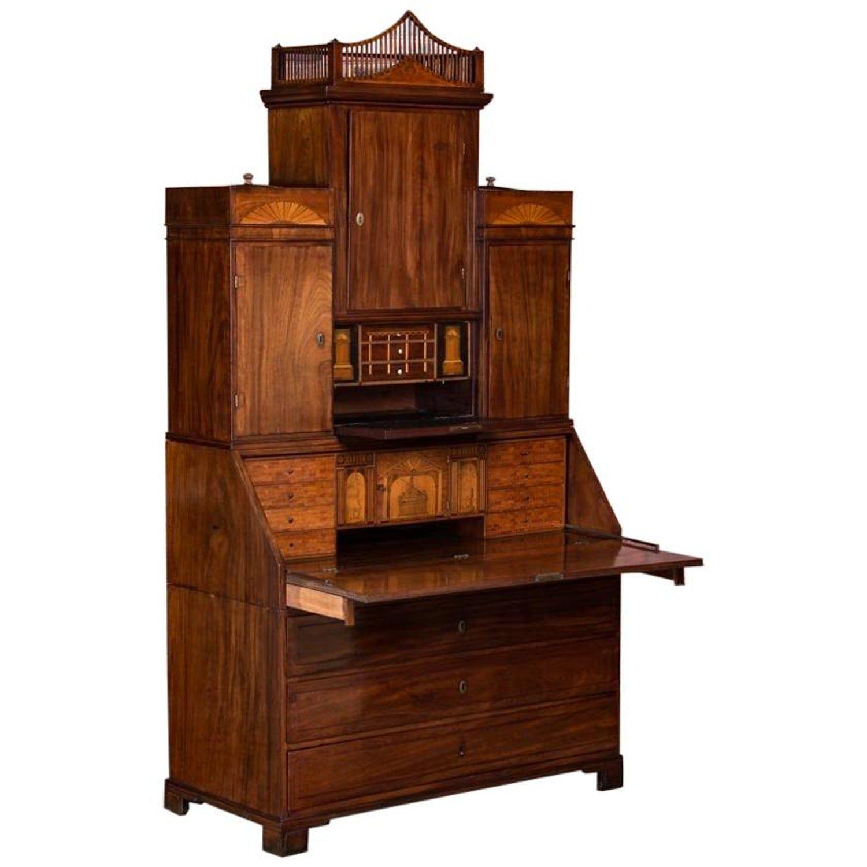 Antique Danish Empire Mahogany Secretary Desk Empire Style