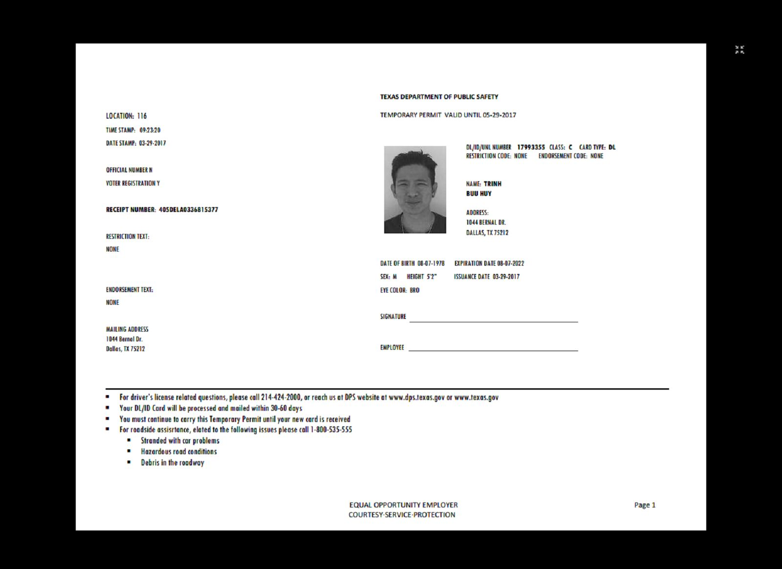 Texas Temp Driver S Permit Template Printable Temporary