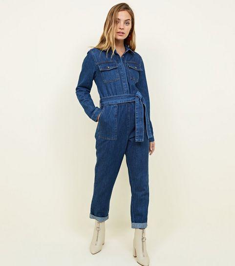 25b9eb006f05ac Petite - Combinaison en jean bleu utility à manches longues en 2019 ...