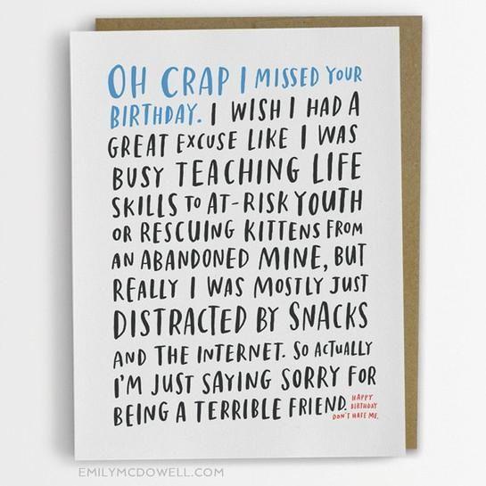 Awkward Belated Birthday Card Copy Paste Pinterest Belated