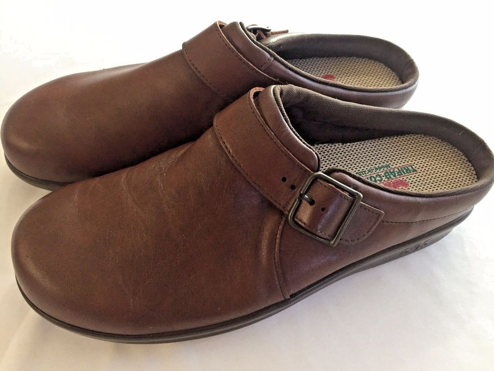 743aa315da03 Size 10 M SAS Brown Clogs Shoes Slip On Nurse Work Leather Slides Mules  Buckle  SAS  Clogs  WeartoWork