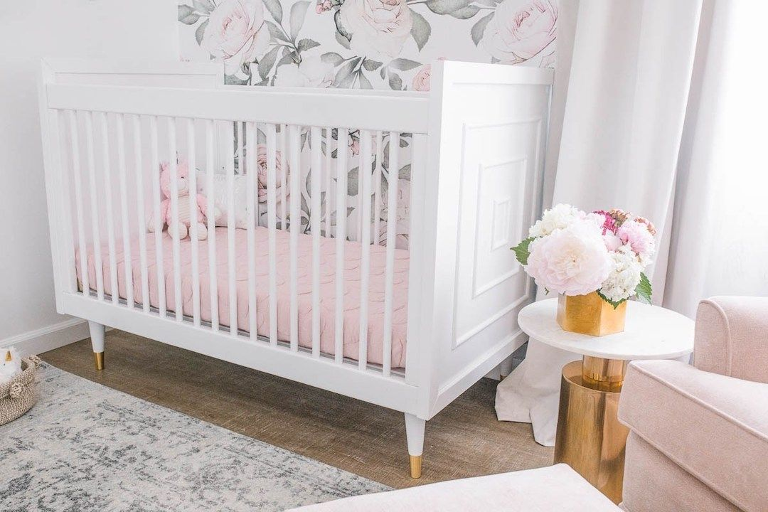 A Blush And Gold Nursery Reveal With Serious Glam Project Nursery Gold Nursery Floral Nursery Blush Floral Nursery