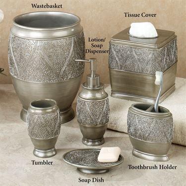 Casablanca Lotion Soap Dispenser Silver, Moroccan Bathroom Accessories