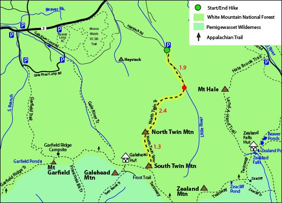 North Twin Mountain Map North Twin Trail North Twin Spur South - Appalachian trail new hampshire map