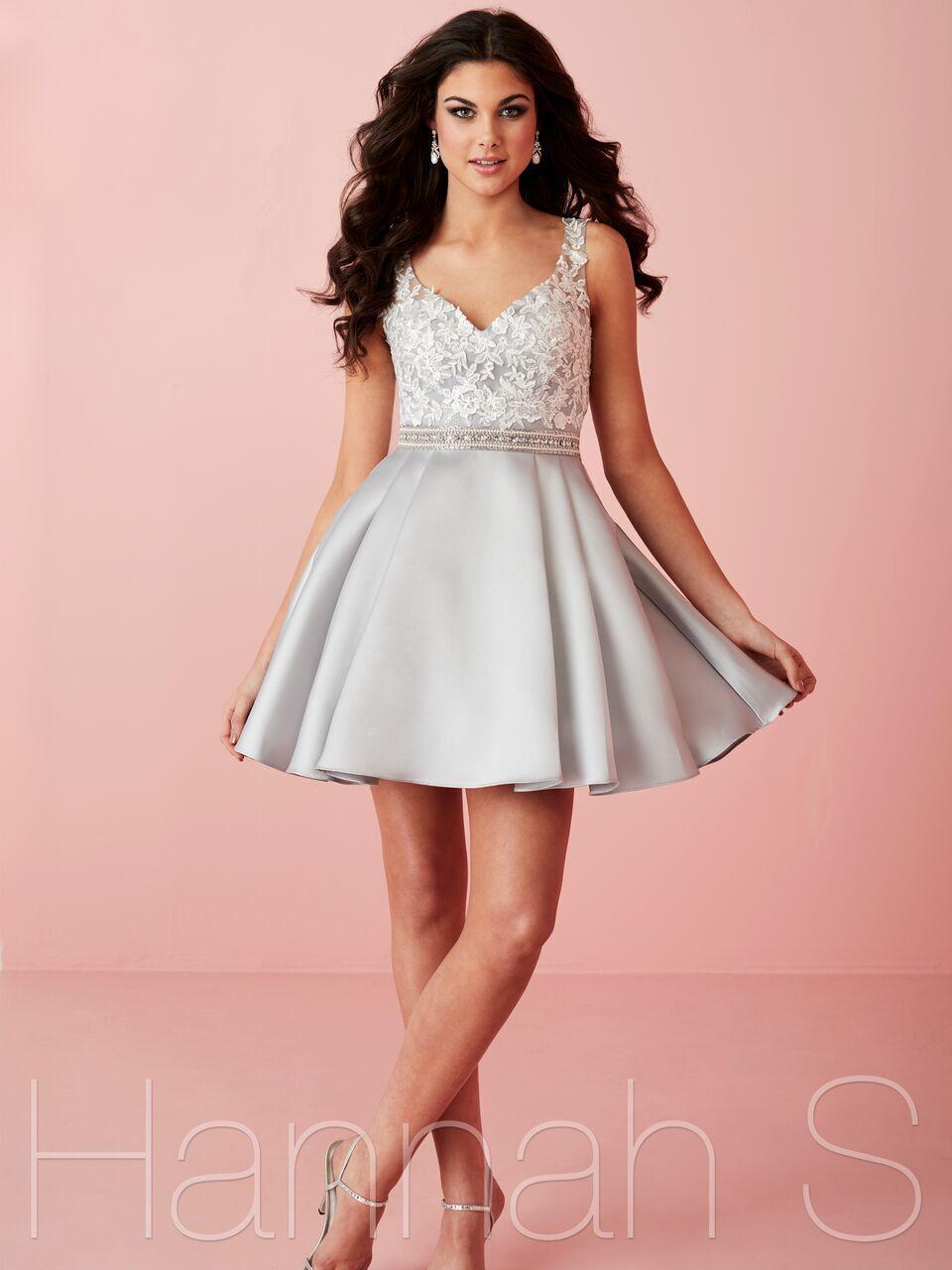 27107 Silver Short Homecoming Dress | Hair and dress | Pinterest ...