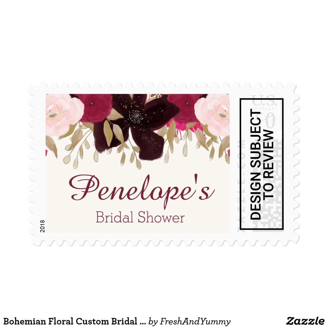 bohemian floral custom bridal shower postage stamp this bohemian floral custom bridal shower postage stamp is perfect for a boho theme bridal shower