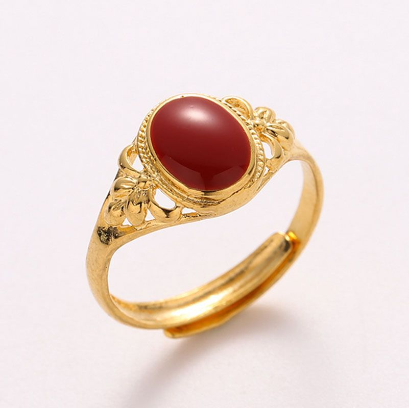 Piece Gold-Color Ring Jewelry for Women Oval Red Natural Stone ...