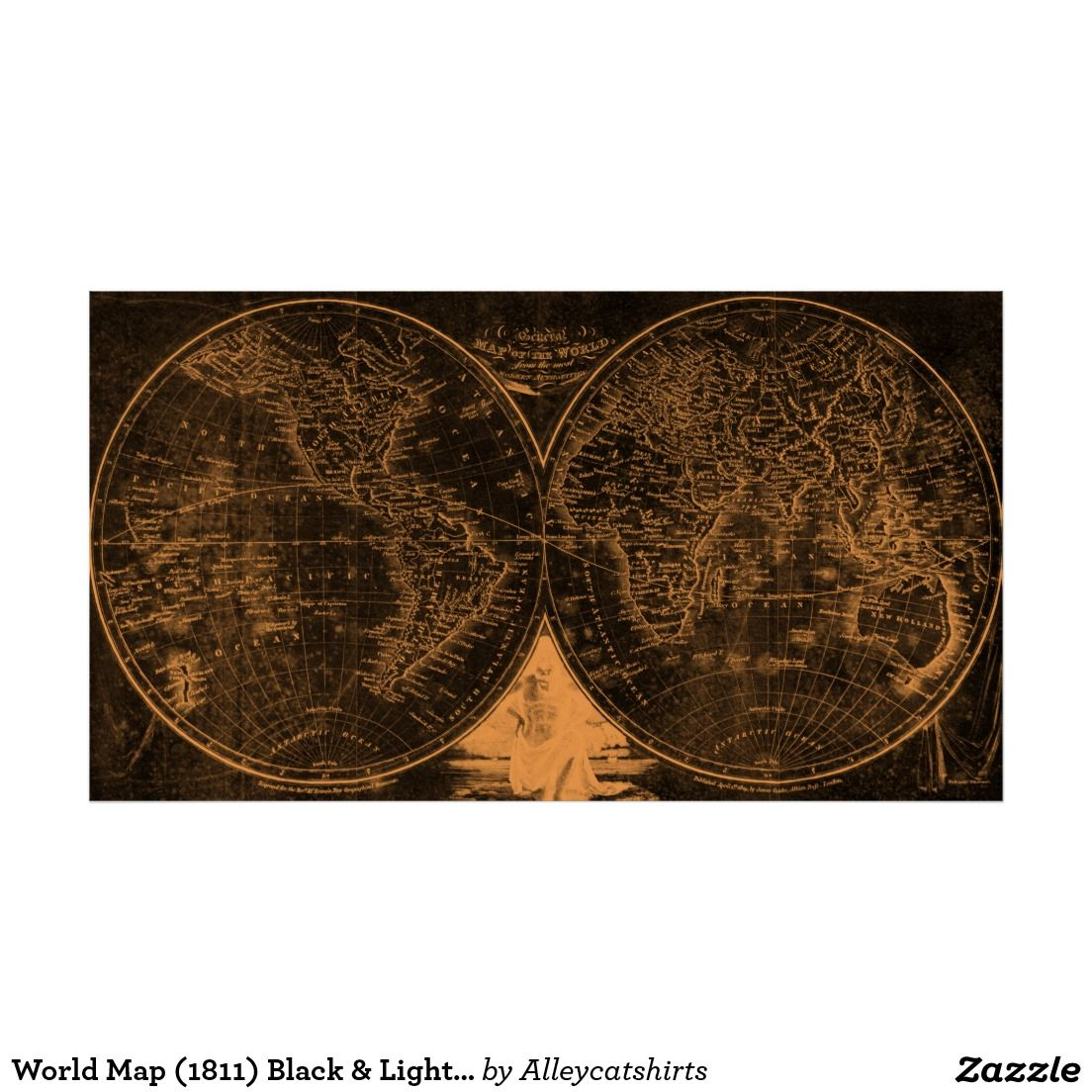 World map 1811 black light brown poster colorful world maps world map black light brown poster created by alleycatshirts order as shown or change the print size or paper type add custom framing gumiabroncs Image collections