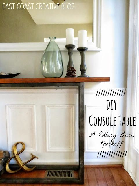 DIY Console Table. Just Go To Home Depot, Have Them Cut ~10 Pieces Of Wood,  Drill Together, And Paint.