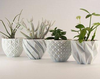 Modern Planter Mantel Decor Set Geometric Planter Gift Flower Pots