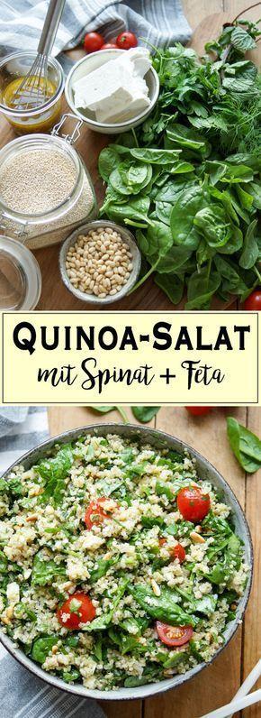 Quinoa-Salat mit Spinat & Feta | Rezept | Elle Republic