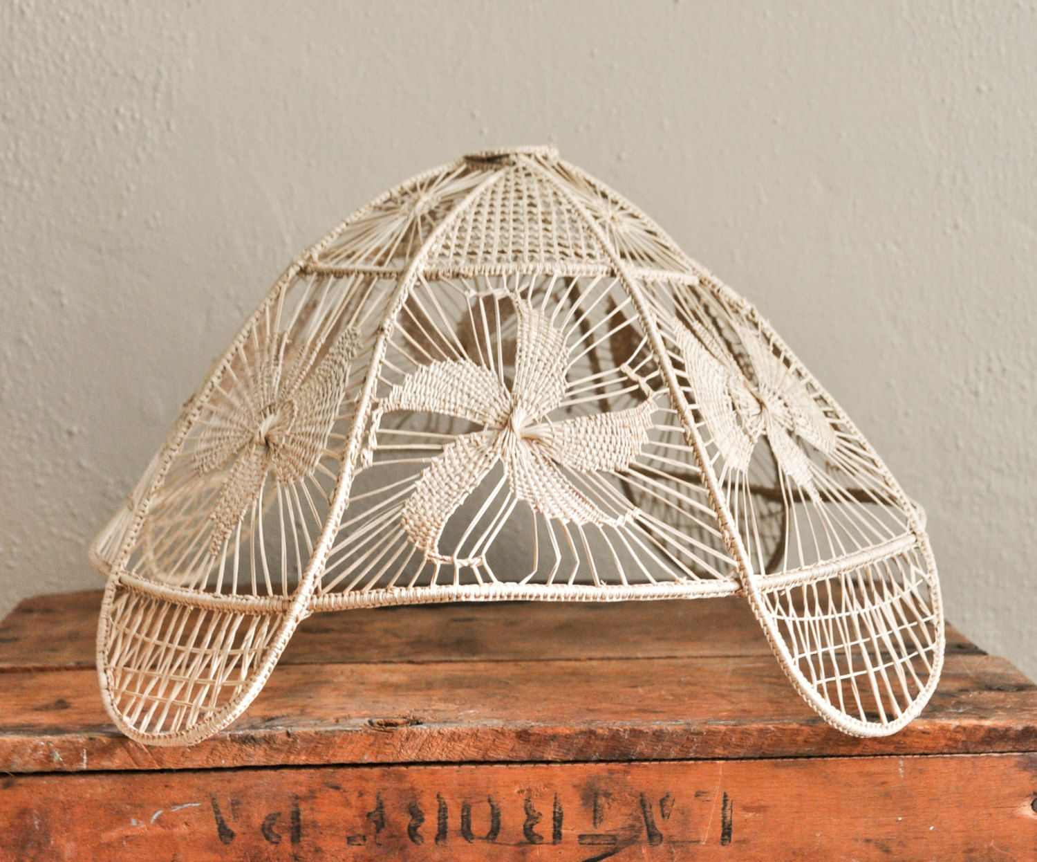 Vintage Handmade Woven Lamp Shade Beautiful Weaving Grass Basket Straw Macrame by drowsySwords on Etsy