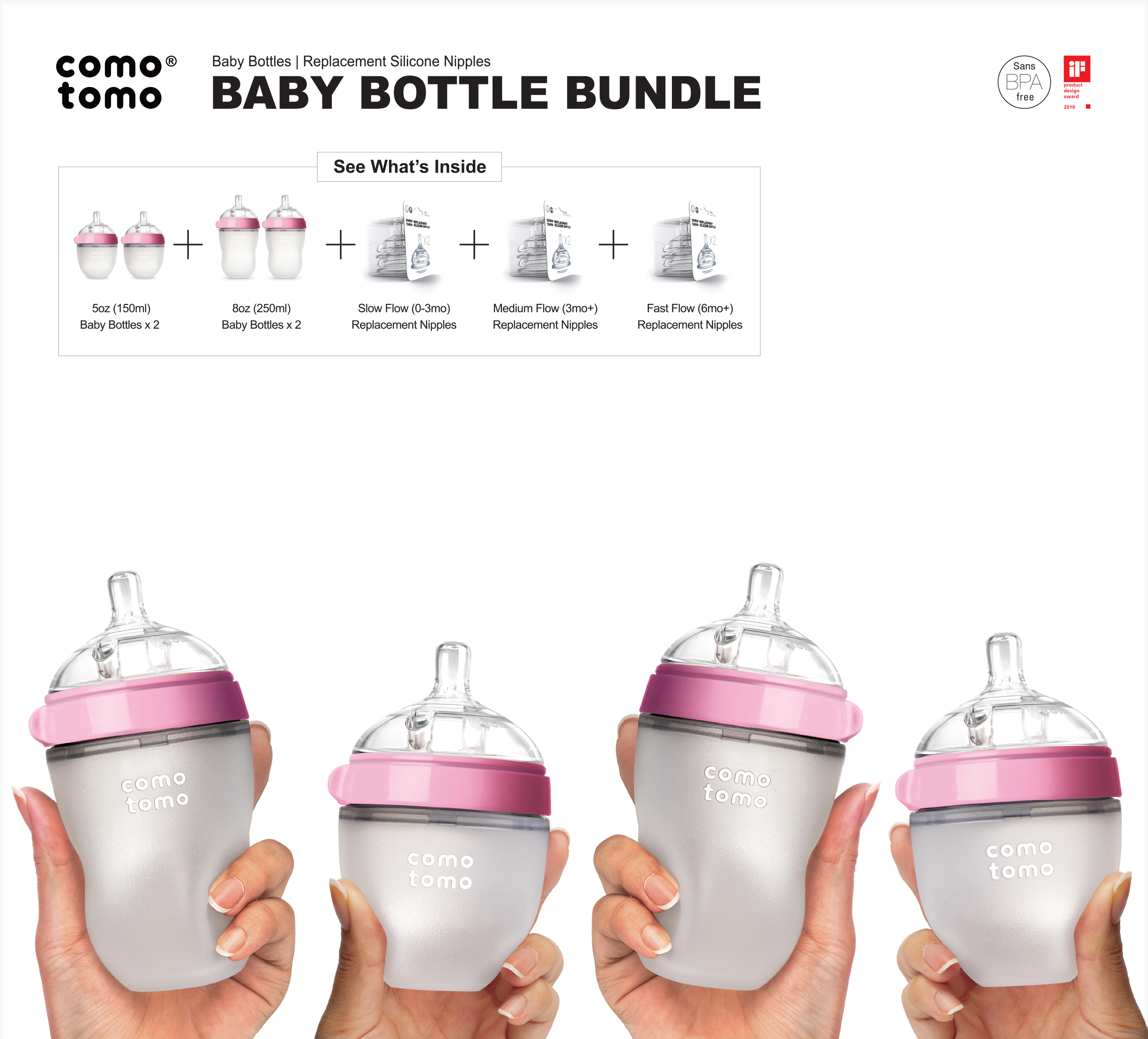 Comotomo Baby Bottle Bundle 7 Piece Gift Set The Perfect Gift For Expecting New Parents Or Parents Who Al Baby Bottles Baby Bottle Storage Best Baby Bottles