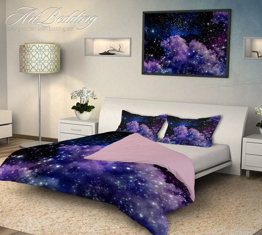 Galaxy Bedding Night Sky With Stars Bedding Set White