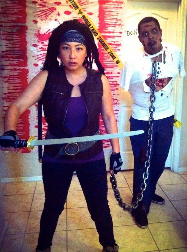 TWD Michonne and Zombie Pet Halloween Costume  sc 1 st  Pinterest & TWD Michonne and Zombie Pet Halloween Costume | Halloween ...