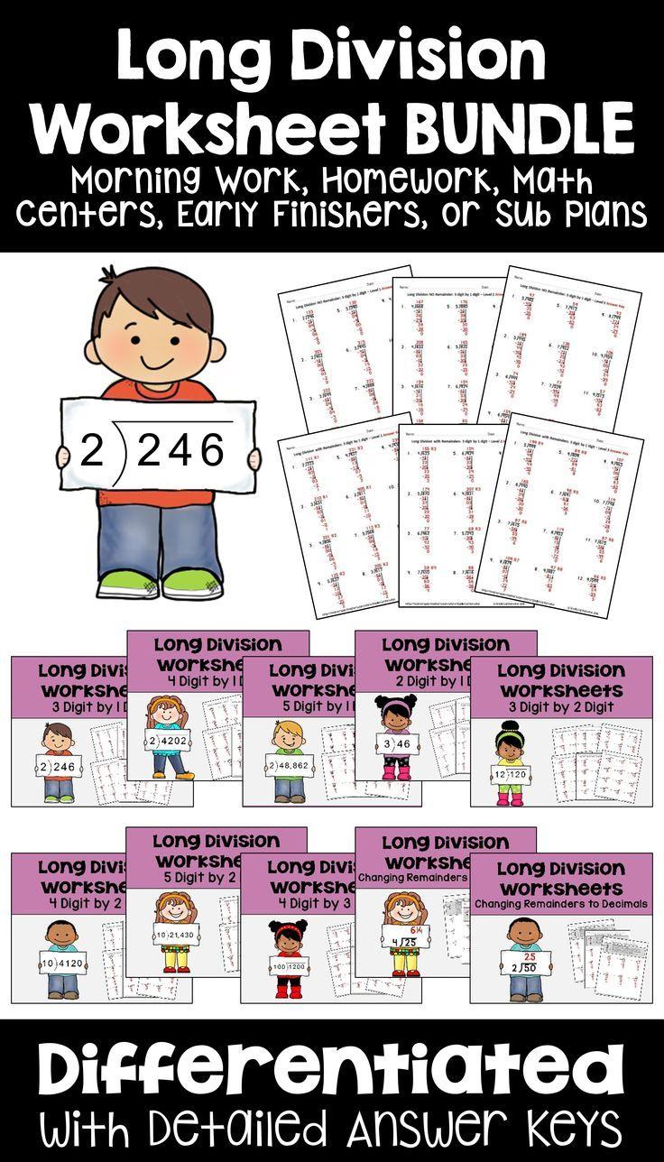 Long Division Worksheet BUNDLE Division worksheets, Fun