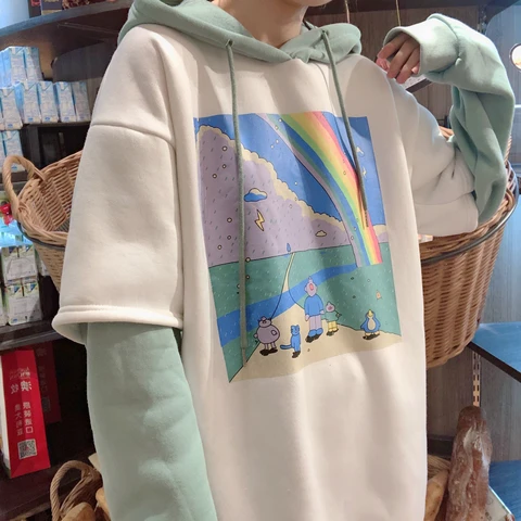 Rainbow rain stitching fake two piece hoodie