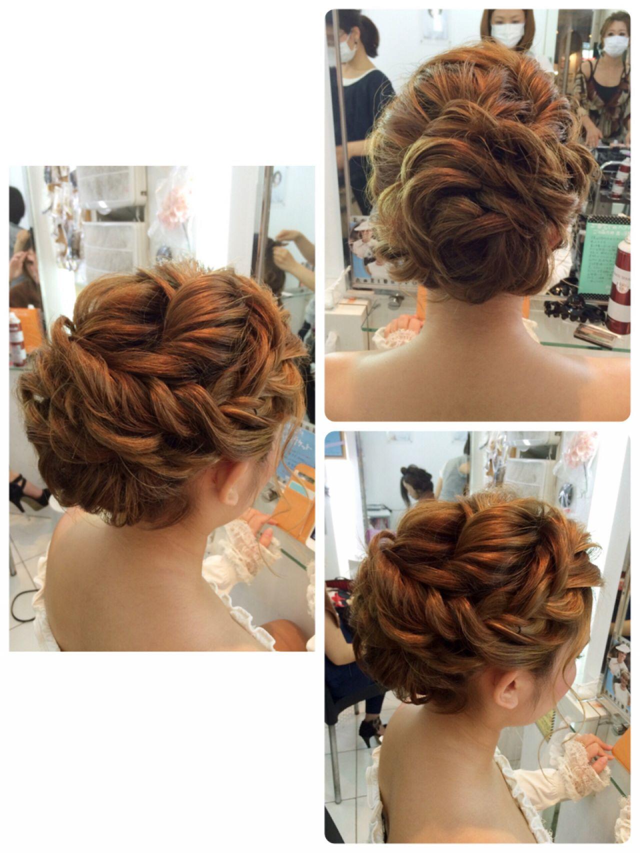 編み込みルーズアレンジアップ ヘアスタイリング 二次会 ヘアスタイル 髪型
