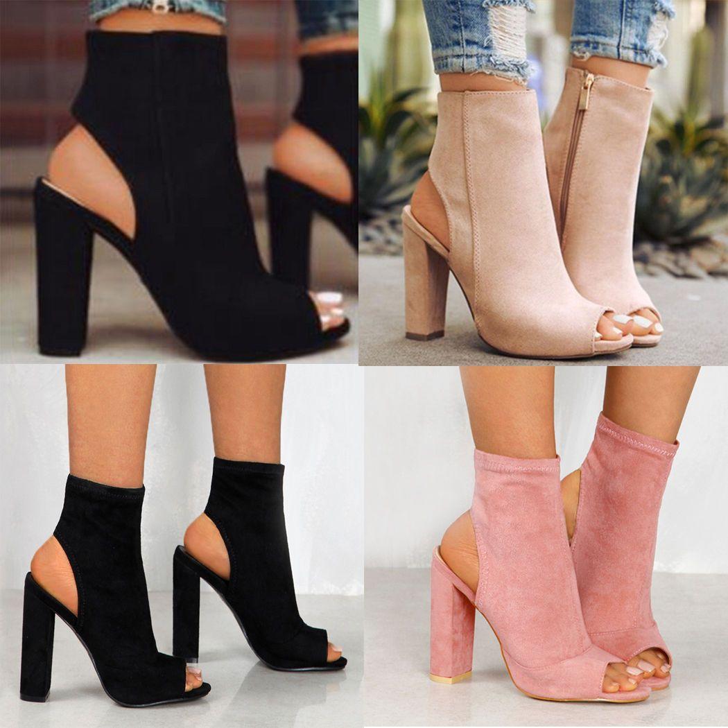 ladies open toe shoe boots