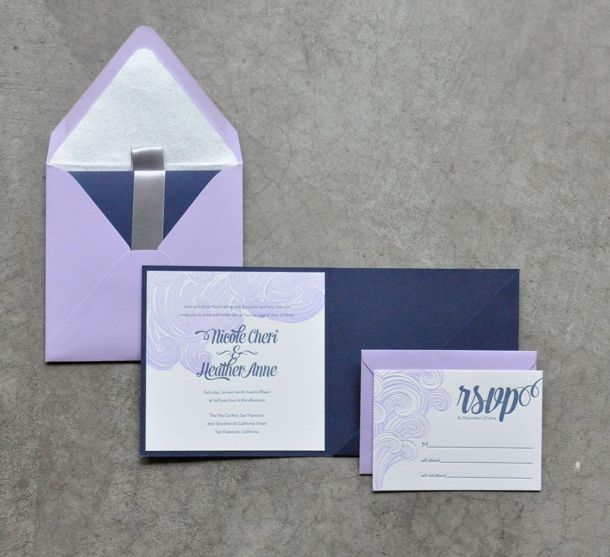 bunny bear press  rolling wave wedding suite  place card