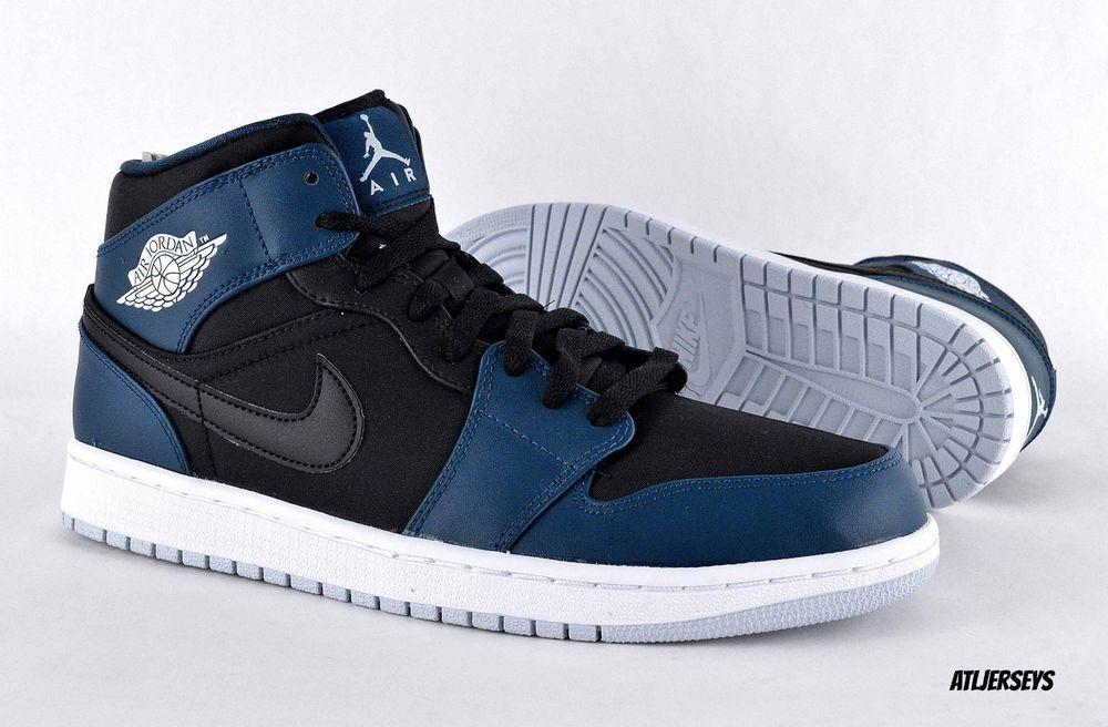 88f6f193f4453e Mens New Nike Air Jordan 1 MID Retro Black Pure Platinum Nightshade ...